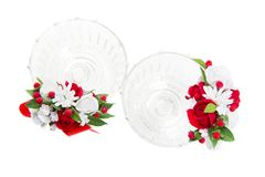 Kristallgläser mit rotem Blumendekor Lizenzfreies Stockbild