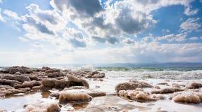 Kristallijn zout op strand van Dode Overzees Royalty-vrije Stock Foto