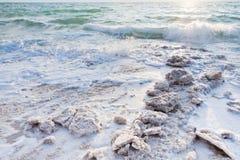 Kristallijn zout op strand van Dode Overzees - 4 Stock Afbeelding