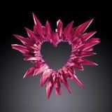 kristalliserade den röda hjärtaillustrationen för rubinen 3d, kristallbakgrund vektor illustrationer