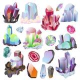 Kristallisk sten för Crystal vektor eller dyrbar gemstone för smyckenillustrationuppsättning av steniga juvelädelsten eller miner vektor illustrationer