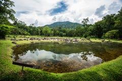 Kristalliskt damm för varm vår inom skogområde av Thailand Fotografering för Bildbyråer