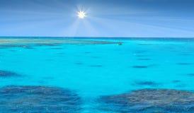 Kristallklart blått korallvatten av ett Röda havet Arkivfoto