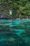Kristallklart vatten av en lagun Arkivfoto