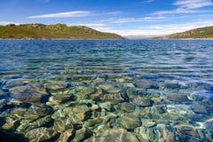 Kristallklart vatten av sjön Mosvatn Telemark Norge royaltyfria foton