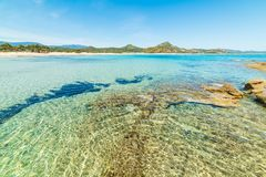 Kristallklart vatten i den Scoglio di Peppino stranden Arkivbilder