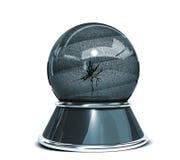 Kristallkula över vit bakgrund och brutet exponeringsglas - mall för formgivare vektor illustrationer