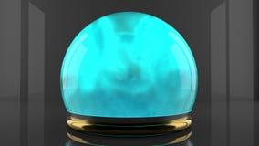 Kristallkula med dunstpartikelrörelse Cyan färggas inom en glass sfär Design av vätskelysande rök royaltyfri illustrationer