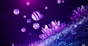 Kristallneonhöhlenzusammenfassungshintergrund Stockfotos