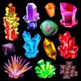 Kristallvektorkristallener Steinedelstein und kostbarer Edelstein für Schmuckillustrationssatz Juwel oder Mineralsteiniges lizenzfreie abbildung