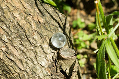 Kristalsteen in groene openlucht stock afbeelding