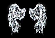 Kristalvleugels op zwarte achtergrond stock illustratie