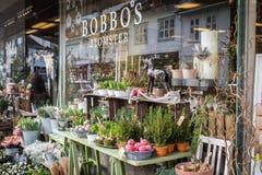 Kristansand, Norwegia, Grudzień 22, 2017: Kwiaty outside Bobbos Blomster, kwiatu sklep w Kristiansand mieście Zdjęcia Stock
