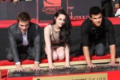 Kristen斯图尔特,罗伯特Pattinson,泰勒Lautner 库存图片