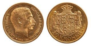 Kristen 1914 för kroner Danmark för guld- mynt 20 arkivbilder