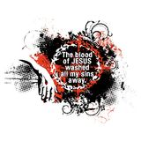 Kristen illustration Blodet av Jesus tvättade alla mina synder bort royaltyfri illustrationer