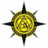 Kristen illustration Tecken av Treenighet, aliphen och omegan, kompass stock illustrationer