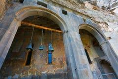 Kristen klocka, frescoes och arkitektur (Georgia) arkivbilder