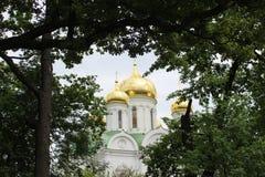 Kristen kyrka i staden av Tsarskoye Selo arkivfoton
