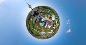 Kristen kyrka och sfärisk panorama för kloster lager videofilmer