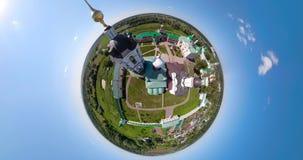 Kristen kyrka och sfärisk panorama för kloster stock video