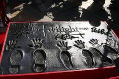 Kristen Stewart, Robert Pattinson, Taylor Lautner. LOS ANGELES - NOV 3:  Robert Pattinson, Kristen Stewart, Taylor Lautner hand and foot prints at the Handprint Royalty Free Stock Photography