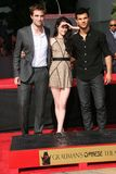 Kristen Stewart,Robert Pattinson,Taylor Lautner. Robert Pattinson, Kristen Stewart and Taylor Lautner  at the 'Twilight' Hand and Footprint Ceremony, Chinese Stock Photos