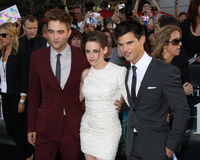 Kristen Stewart,Robert Pattinson,Taylor Lautner. Robert Pattinson, Kristen Stewart, and Taylor Lautner 2010 Los Angeles Film Festival - Eclipse Premiere Nokia Stock Image