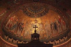 Kristen symbolsmosaik på kupol av basilikadi Santa Maria i Tras royaltyfri bild