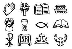 Kristen symbolsuppsättning royaltyfri illustrationer