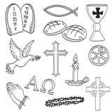 kristen tecknade handillustrationsymboler stock illustrationer