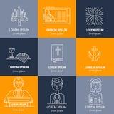 Kristendomenlinje symbolsuppsättning royaltyfri illustrationer