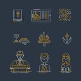 Kristendomenlinje symbolsuppsättning vektor illustrationer