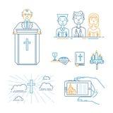 Kristendomenlinje uppsättning stock illustrationer