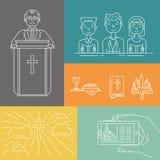 Kristendomenlinje uppsättning vektor illustrationer