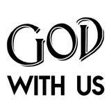Kristendomentro & x22; Gud med us& x22; ; menande namn av guden; svartvitt färgdiagram Arkivfoton