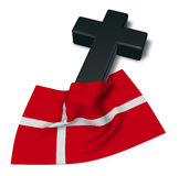Kristenkors och flagga av Danmark Fotografering för Bildbyråer