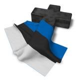 Kristenkors och flagga av Estland Fotografering för Bildbyråer
