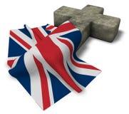 Kristenkors och flagga av Förenadet kungariket Storbritannien och Nordirland Arkivbilder
