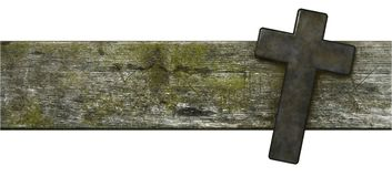 Kristenkors på gammal träplanka Royaltyfri Bild