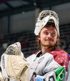 Kristers Gudlevskis, goalie of team Latvia after win against team Russia royalty free stock image