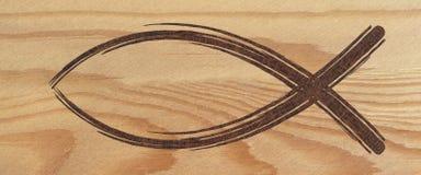 Kristet baner för fisksymbolrengöringsduk på trä religiöst tecken stock illustrationer