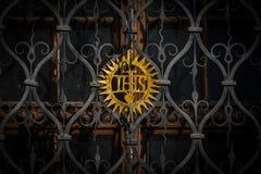Kristet symbol, ett guld- symbol av Jesus. Royaltyfri Bild