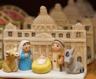 Kristi födelse med Sts Peter basilika i Vaticanen Royaltyfri Fotografi