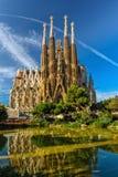 Kristi födelsefasad av den Sagrada Familia domkyrkan i Barcelona Arkivfoto