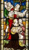 Kristi födelsemålat glassfönster Royaltyfri Fotografi