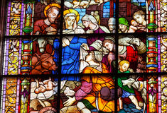 Kristi födelseMary Joseph Baby Jesus Stained Glass Seville domkyrka arkivfoto