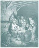 Kristi födelse av den Jesus illustrationen skissar Arkivbilder