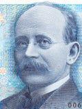Kristian Birkeland-Porträt vom norwegischen Geld stockbild