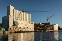 Kristiansand, Norway - November 6, 2017: The exterior of the Kunstsilo, that will become the new art museum in. The exterior of the old silo at Silokaia Stock Photos